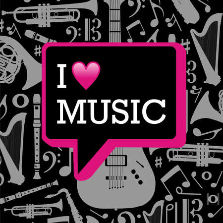 I love music written in dialog bubble on black background with gray musical instruments silhouettes fille layered for easy manipulation and custom coloring  Vector