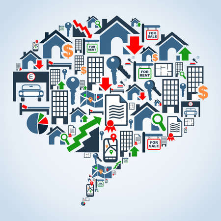 icone immobilier: Ic�ne immobilier mis en bulles dossier social media forme illustration de fond en couches pour une manipulation facile et la coloration personnalis�e