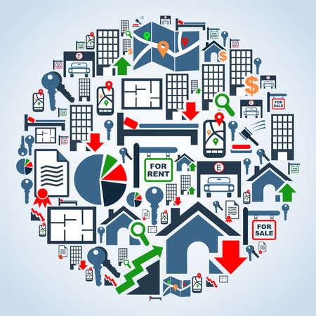 icone immobilier: Ic�ne immobilier mis en forme globe illustration d'arri�re-plan du fichier en couches pour une manipulation ais�e et la coloration personnalis�e