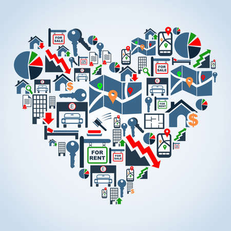 icone immobilier: Mondial ic�ne immobilier mis en forme de coeur illustration de fond du fichier en couches pour une manipulation facile et la coloration personnalis�e Illustration
