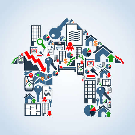 Icône immobilier mis en silhouette maison de fond en couches fichier illustration pour une manipulation facile et la coloration personnalisée Vecteurs
