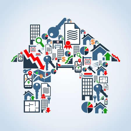 Onroerend goed icon set in huis silhouet achtergrond illustratie bestand gelaagd voor eenvoudige manipulatie en aangepaste kleur Vector Illustratie