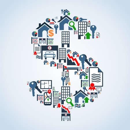 value: Icon immobiliare situato in file di simboli denaro illustrazione forma di sfondo stratificato per una facile manipolazione e la colorazione personalizzata Vettoriali