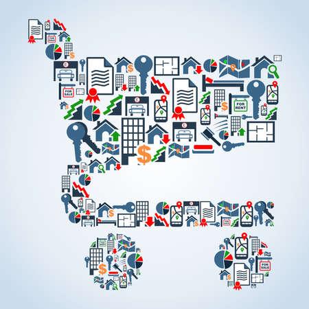 icone immobilier: Ic�ne immobilier mis dans le panier symbole forme d'arri�re-plan du fichier Vector illustration en couches pour une manipulation facile et la coloration personnalis�e Illustration