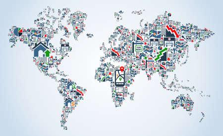 icone immobilier: Ic�ne immobilier mis en terre la carte illustration Globe fond la forme Illustration