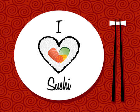 japan food: I love sushi handwritten in white dish over red background  file layered for easy manipulation and custom coloring