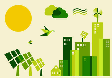 solarpower: Go green city. Industry sustainable development with environmental conservation background illustration.