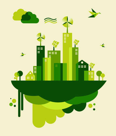 on the go: Go green city. Industry sustainable development with environmental conservation background illustration