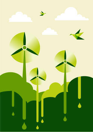 Go green with-turbine park background illustration. Sustainable development concept. Vector
