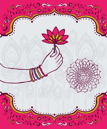 Indian woman hand  holding a lotus flower over white and pink background.  Vector