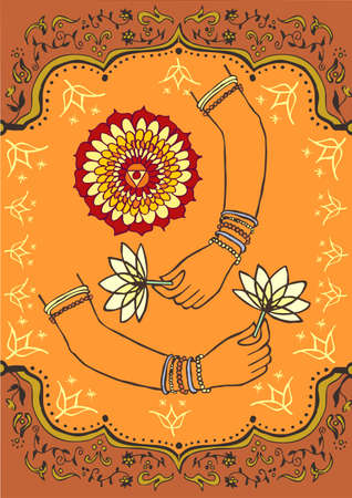 persian art: Indian woman hand and lotus brown and orange background.