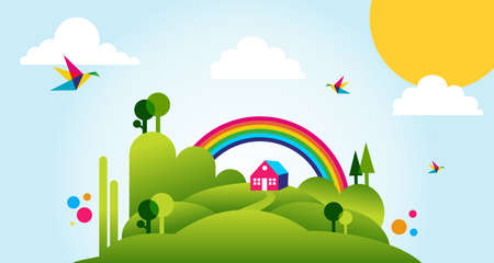 Countryside with forest, house and rainbow spring time fresh illustration background. Vector