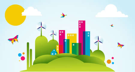 Go green city in spring time. Industry sustainable development with environmental conservation background illustration.