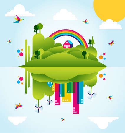 Mirror go green city in spring time  Industry sustainable development with environmental conservation background illustration
