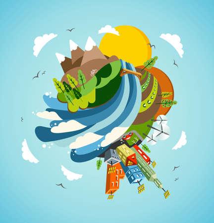 Ir globo verde energía de la Tierra. Global concepto de desarrollo sostenible ilustración de fondo.