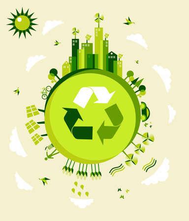 kassen: Ga voor groen aarde wereld achtergrond illustratie. Wereldwijde duurzame ontwikkeling met behoud van het milieu.