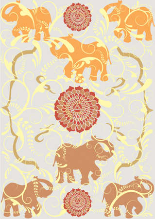 indian art: Traditional indian elephant background.  Illustration