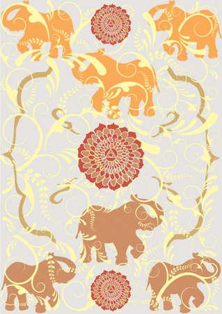 indische muster: Traditionelle indische Elefant Hintergrund.