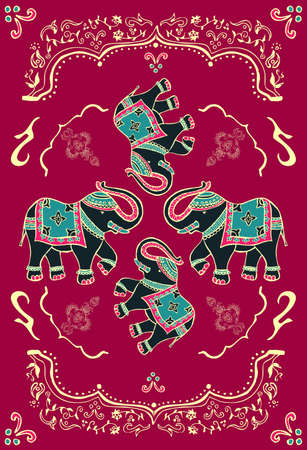 red indian: Traditional indian elephant decorated for special occasion background.