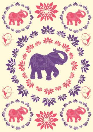 indien muster: Traditionelle indische Elefanten Hintergrund Illustration