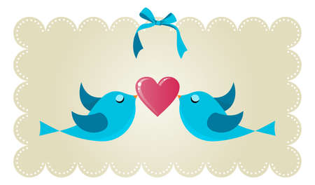 Two twitter birds fall in love holding a red heart background  Vector file available