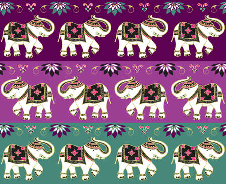 Typical indian elephant decoration banner background set.  Vector