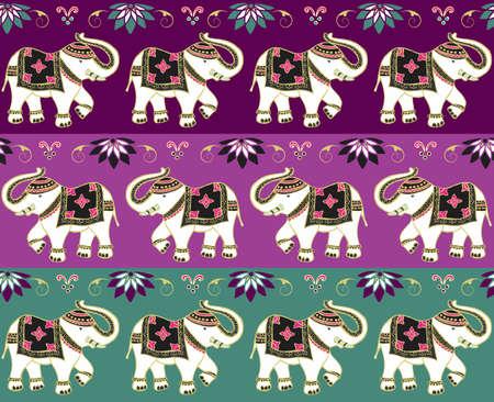 indien muster: Typische Indische Elefanten Dekoration Banner Hintergrund eingestellt. Illustration
