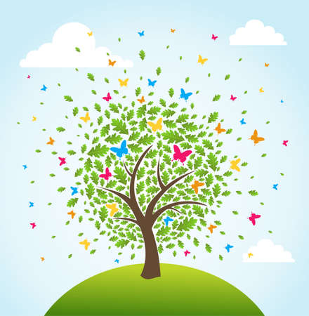 Abstract spring time tree composition flowers background.  Vector