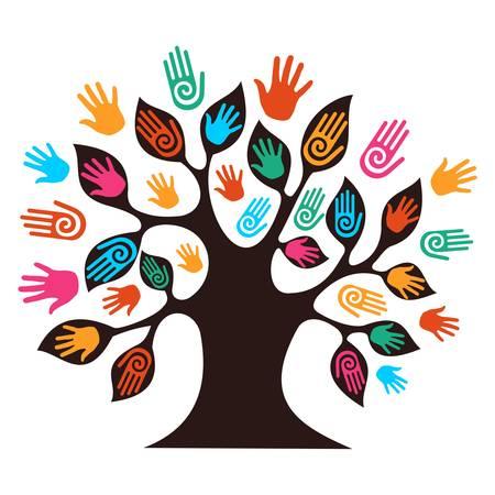 Isolé arbre de la diversité mains illustration.
