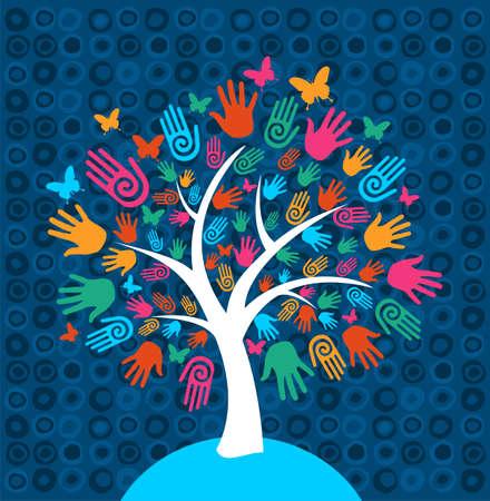 Árbol de la Diversidad manos ilustración de fondo Ilustración de vector