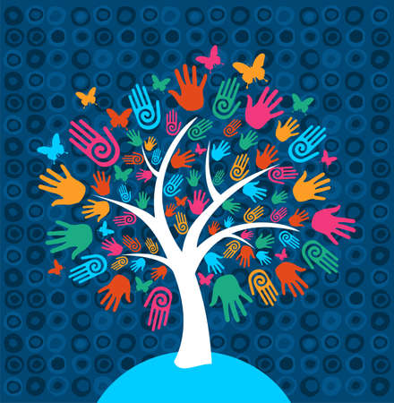 Diversity tree hands illustration background Vector