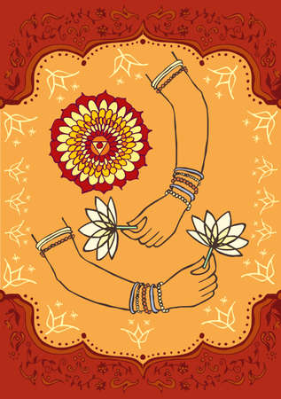 peace of mind: Woman hand and lotus indian culture background Illustration