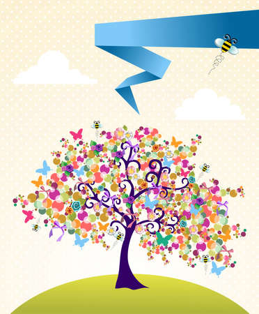 bee garden: Abstract spring time tree composition with flowers background.  Illustration