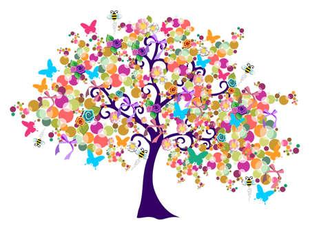 Isoliert abstrakte Frühling Baum Komposition mit Blumen.