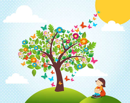 Cute spring time landscape with tree flowers composition and girl Vector