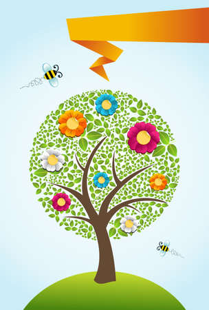 Abstract spring time tree composition with flowers Vector