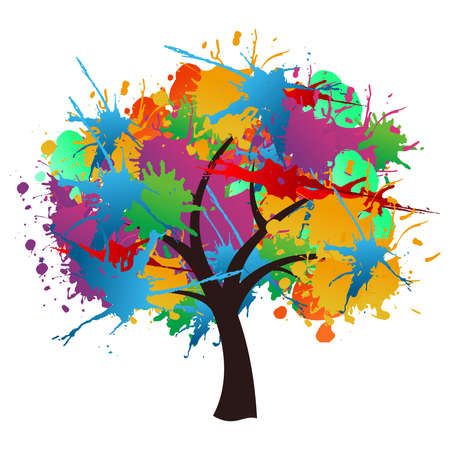 pollination: Isolated abstract paint splash spring time tree.