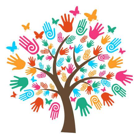 Isolé arbre de la diversité mains illustration. Vecteurs
