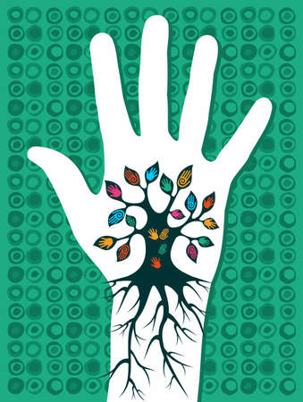 Go green concept tree in hand with roots as veins. Vector
