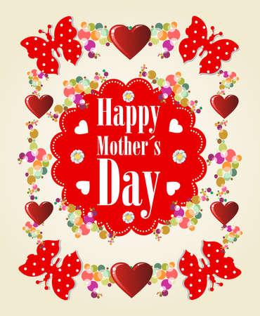 mums: Feliz d�a y Madres de mariposas fondo del coraz�n Vectores