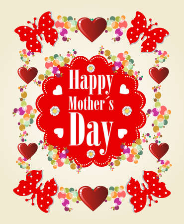 Happy Mothers day butterfly and heart background Vector