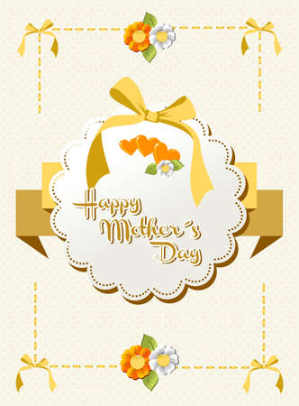 Happy Mothers Day words on beige background with dots, ribbon and flowers Vector