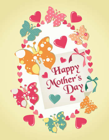 Happy Mothers Day greeting card with heart and butterflies background