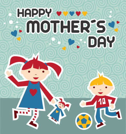 Happy children celebrating Mothers Day on blue background Vector