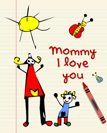 I love you mommy child drawing on striped sheet background Vector