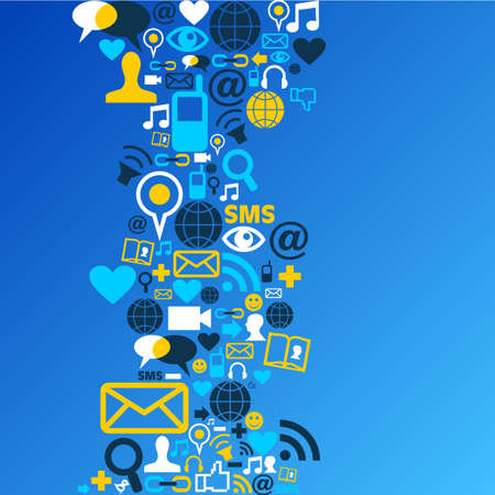 interaccion social: Blue sociales iconos de los medios establecidos en el archivo de dise�o de forma de onda en capas para la manipulaci�n f�cil y colorante de encargo. Vectores