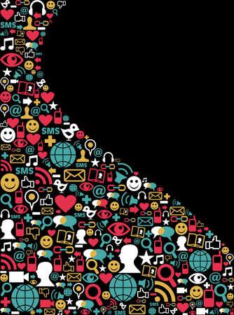 internet love: Social media icons set in wave shape layout  Illustration