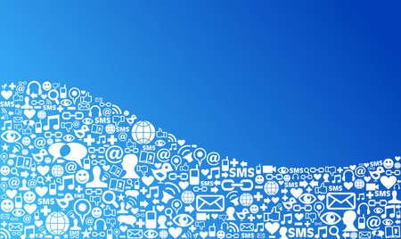 interaccion social: Blue sociales iconos de los medios de comunicaci�n establecido en el dise�o de forma de onda Vectores