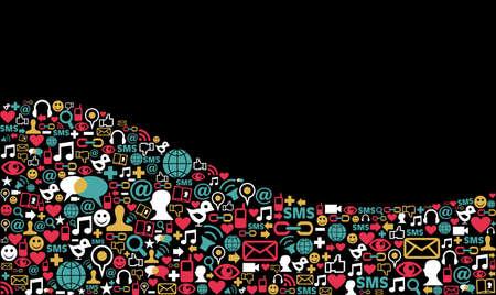 interaccion social: Paisaje social iconos de los medios de comunicaci�n establecido en la forma de onda de dise�o de fondo Vectores
