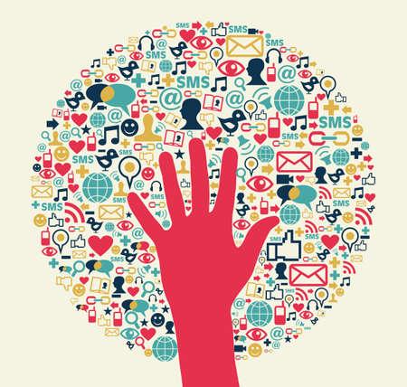 interaccion social: Círculo social el éxito de los medios de comunicación con el archivo de la mano Vector capas para la manipulación fácil y personalizada para colorear Vectores